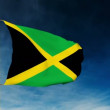 Jamaica flag slider style. Waving in the win with cloud background animation — Stock Video #78286574