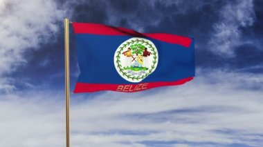 Belize flag with title waving in the wind. Looping sun rises style.  Animation loop — Stock Video