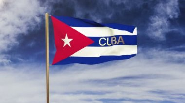 Cuba flag with title waving in the wind. Looping sun rises style.  Animation loop — Stock Video