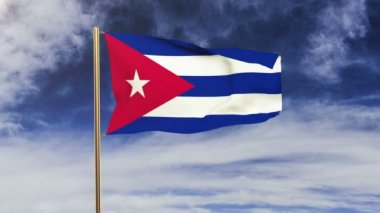 Cuba flag waving in the wind. Green screen, alpha matte. Loopable animation — Stock Video