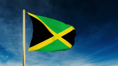 Jamaica flag slider style. Waving in the win with cloud background animation — Stock Video