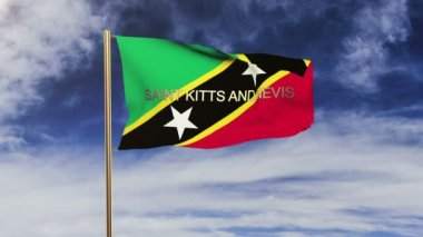 Saint Kitts And Nevis flag with title waving in the wind. Looping sun rises style.  Animation loop — Stock Video