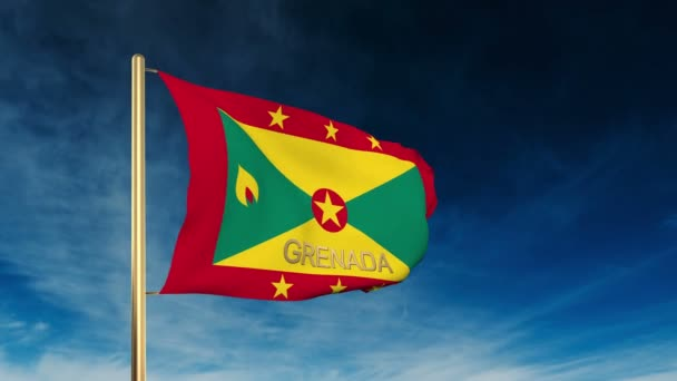 Grenada flag slider style with title. Waving in the wind with cloud background animation — Vídeo de stock