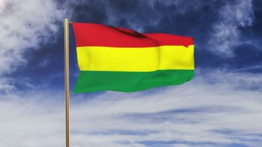 Bolivia flag waving in the wind. Green screen, alpha matte. Loopable animation — Stock Video