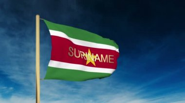 Suriname flag slider style with title. Waving in the wind with cloud background animation — Stock Video