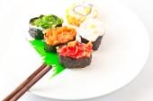 Sushi Assortment On White Dish, close up — Stock Photo
