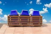 Blue trashcans. — Stock Photo
