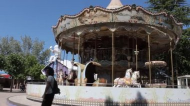 Carousel in holiday park — Stock Video