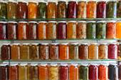 Storage Shelves of Home Canning Fruits and Vegetables — Stock Photo