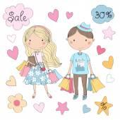 Cute shopping girl and boy — Stock Vector