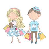 Shopping girl and bored boy — Stock Vector