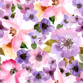 Watercolor  pattern with summer flowers — Stock Vector