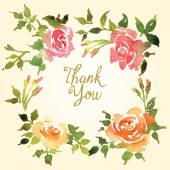 Card with floral ornament. Watercolor. — Stock Photo
