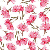 Watercolor seamless flowers pattern — Stock Vector