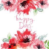 Akvarell gratulationskort blommor. — Stockvektor