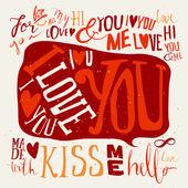 Heart. Set of labels. Postcard love. I love you. Hello. Kiss. — Stock Vector