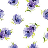 Blue watercolor flowers seamless pattern — Stock Vector
