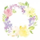 Watercolor greeting card flowers. — Vector de stock