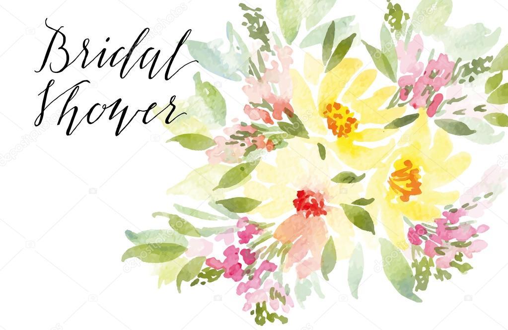 Открытка с цветами акварелью 889