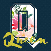 Queen to print T-shirts. Watercolor background. Hand lettering. — Stock Vector