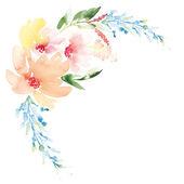 Sulu Boya tebrik kartı çiçekler. El yapımı. — Stok Vektör