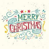 はがきクリスマス。インクで描かれました。手レタリング. — ストックベクタ