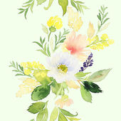 Seamless pattern with flowers watercolor — Stock Photo