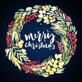 Vánoční věnec akvarel. Ručně vyráběné. Pohlednice. — Stock fotografie