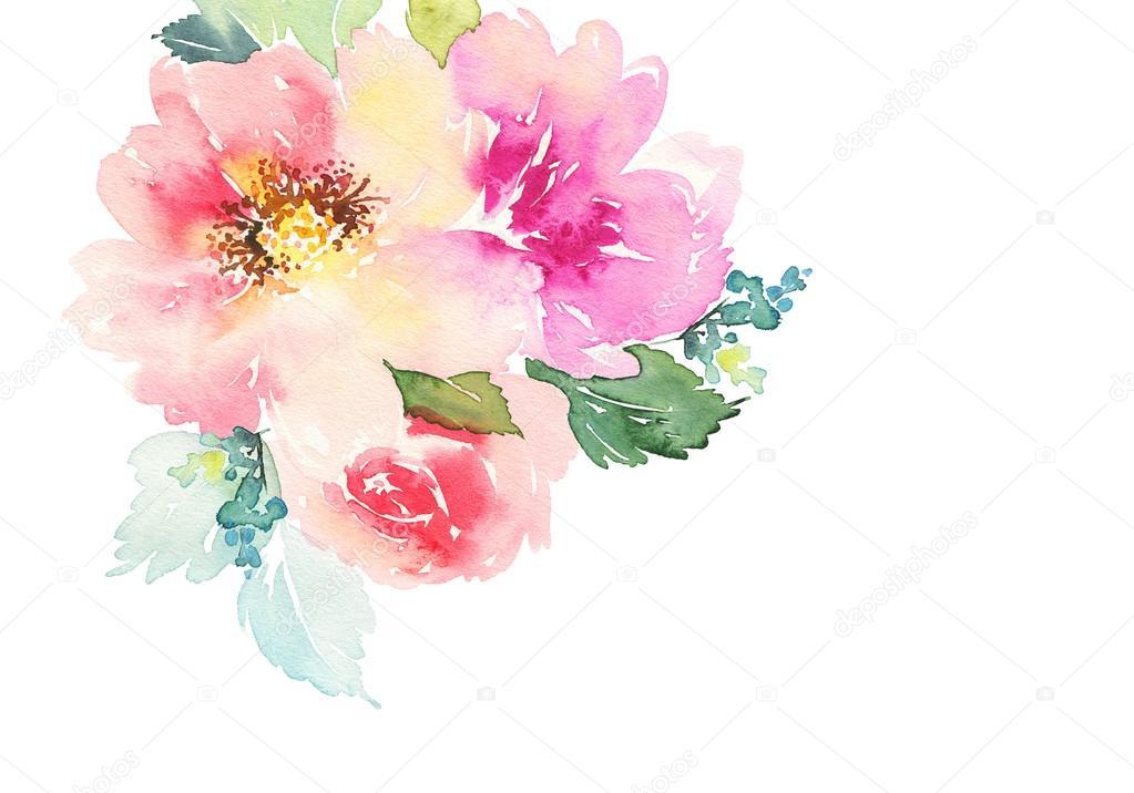 Открытка с цветами акварелью 624