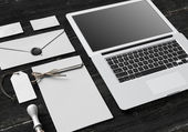 Set of Branding elements With Laptop — Photo