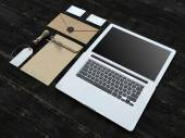 Set of Branding elements With Laptop — Stockfoto