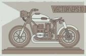 Postcard of vintage Motorcycle — Stock Vector