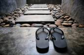 Pair of sandals at spa — Stock Photo