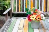 Flowers vase on  wood table — Photo