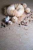 Pumpkin in the straw — Stock Photo