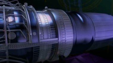 Turbojet Engine Black Glamour Red Jet — Stock Video