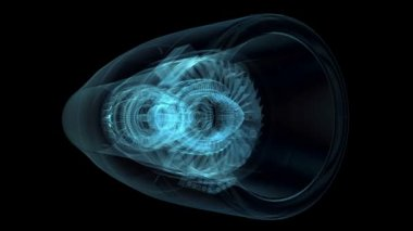 Jet engine 3D x-ray blue transparent isolated on black background — Stock Video