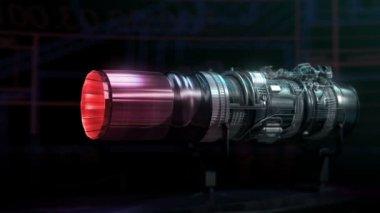 Turbojet Engine Aerodynamics Thrust Test Black Jet — Stock Video