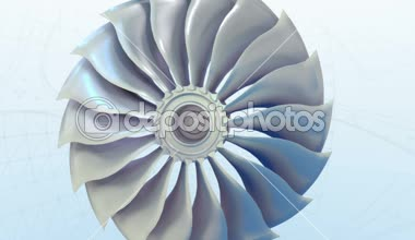 Turbojet Airplane Airliner Engine White day Metallic Grows into a plane Jet — Stock Video
