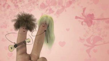 Shaggy hair finger man sing love song. Valentines day joke. — Stock Video