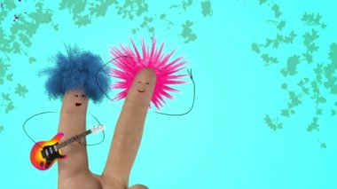 Shaggy hair finger man sing love song. Valentines day joke. Punk color. — Stock Video