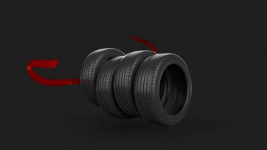 Tyre isolated on grey animated present gift with mask — Stock Video
