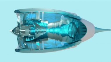 Commercial jet engine animation cross section view — Stock Video