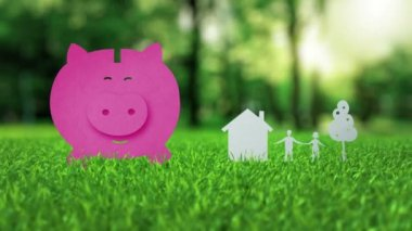 Pink piggy bank animation on green nice summer grass mortgage concept — Stock Video