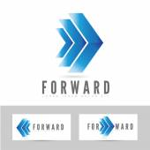 Blue forward logo arrow — Stock Vector