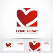 Love heart logo red — Stock Vector