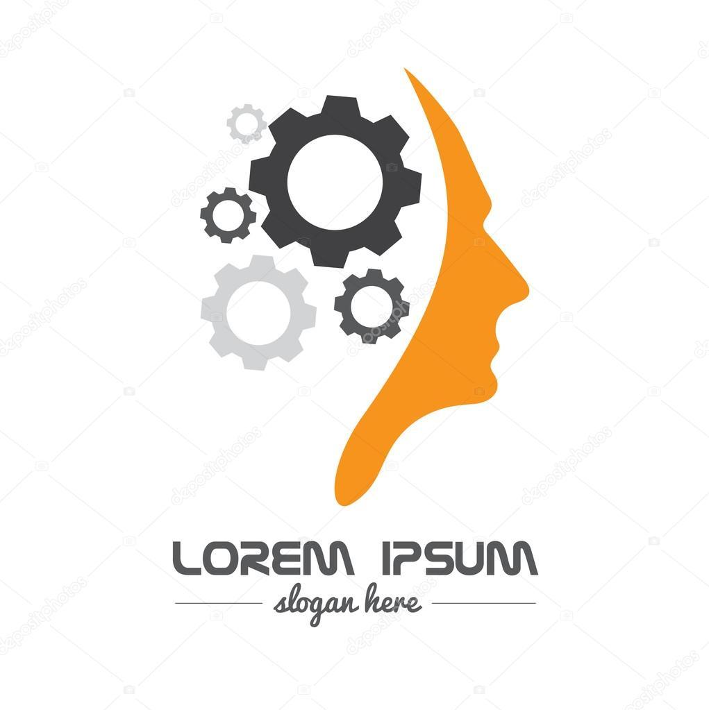 Human head gear idea concept logo — Stock Vector