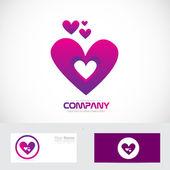 Purple pink heart love logo — Stock Vector