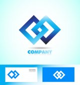 Loop seamless square rhombus logo — Stock Vector