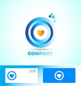 Corporate circle heart love logo — Stock Vector